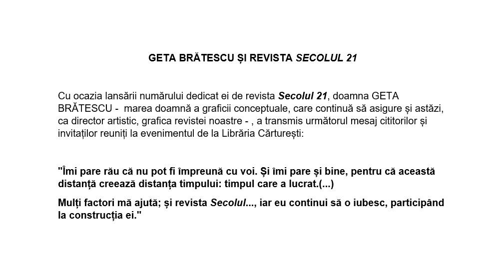 anunt Geta Bratescu