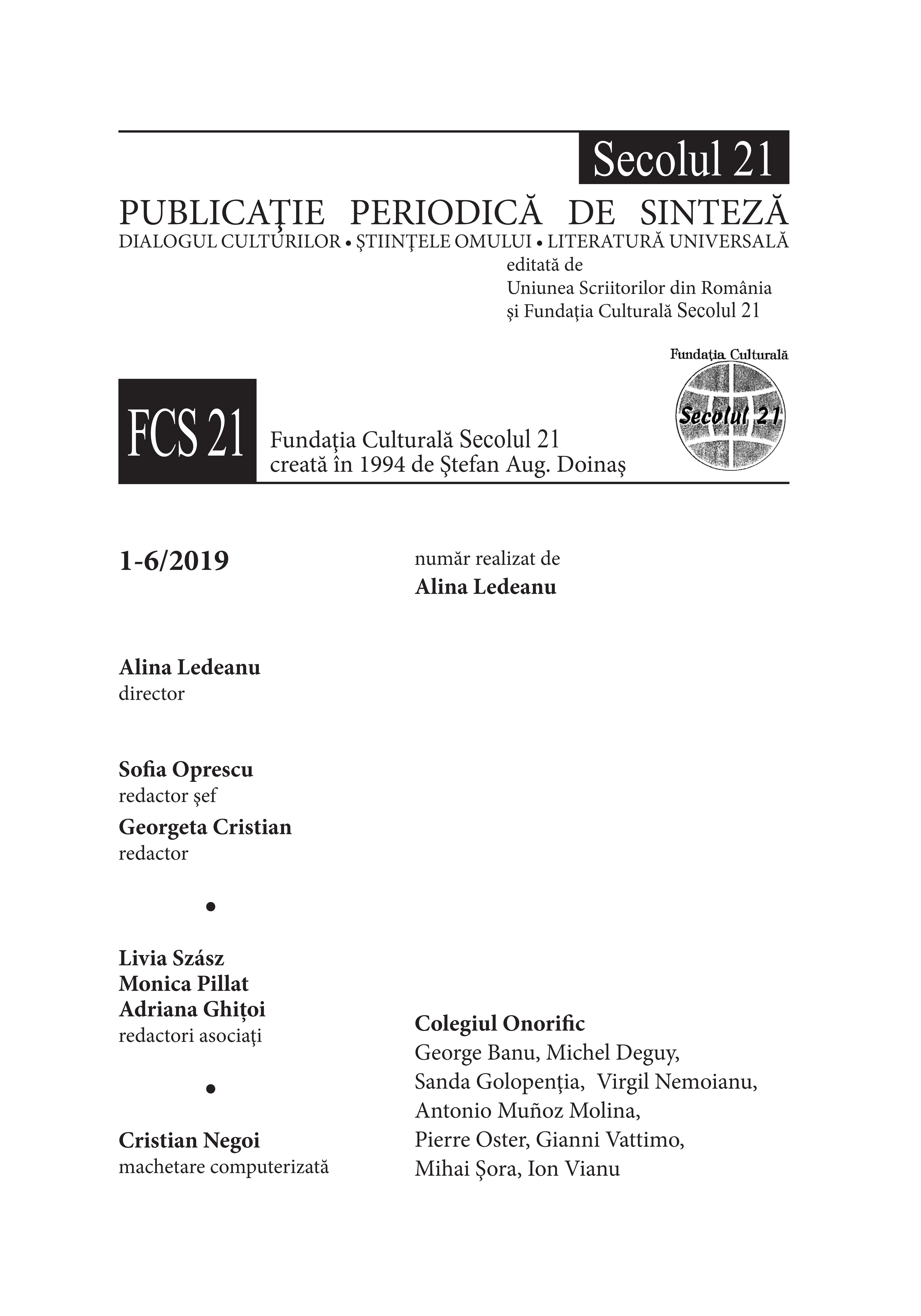 Secolul 21 - Ion Vianu 1-6/2019 caseta redactionala