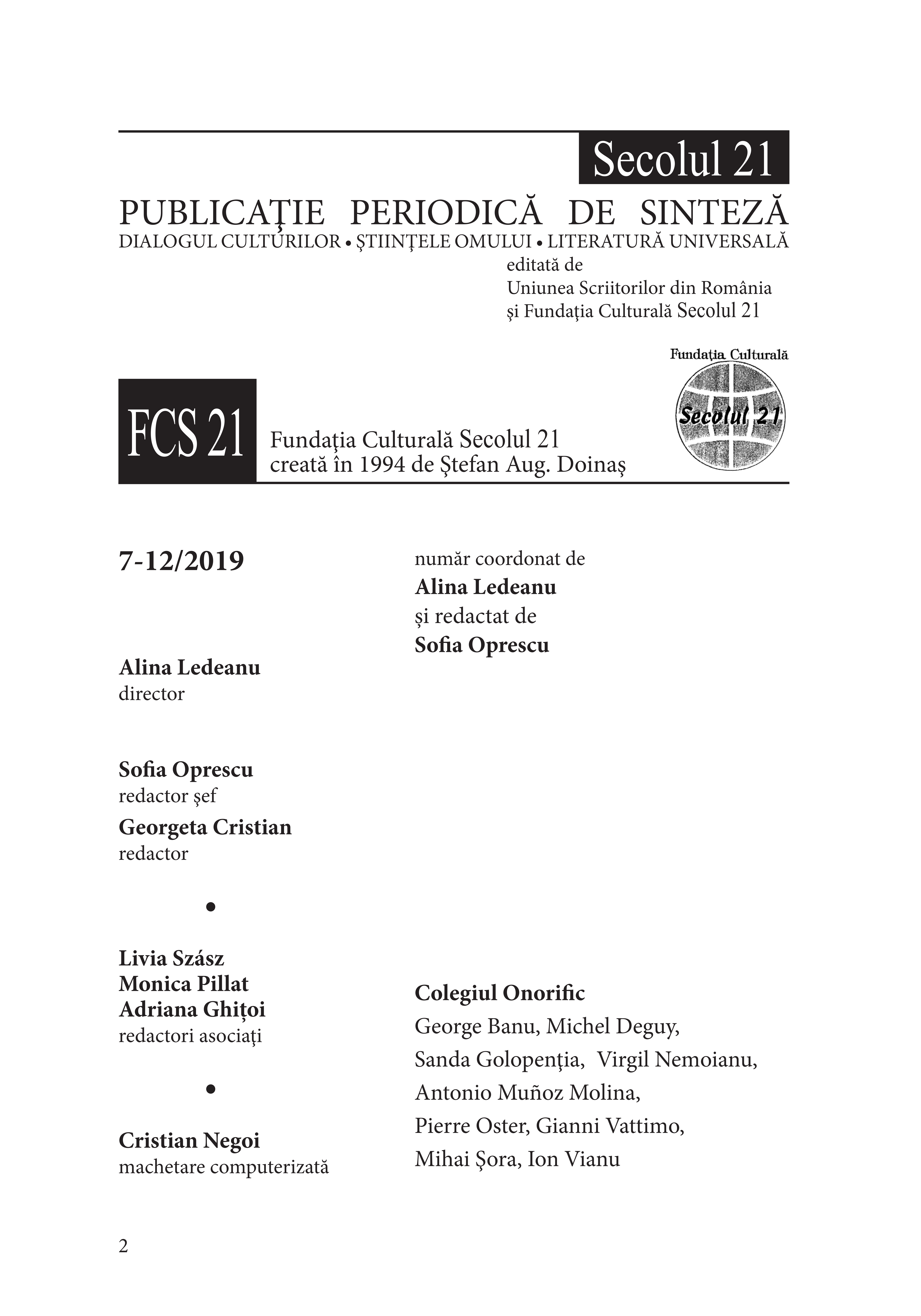 Secolul 21 - GEORGE BANU I 7-12/2019 caseta redactionala